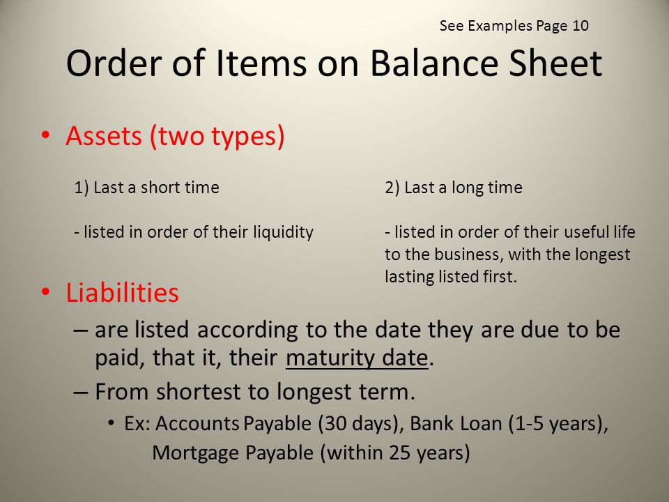 Order of Items on Balance Sheet Assets (two types) Liabilities – are listed according to the date they are due to be paid, that it, their maturity date.