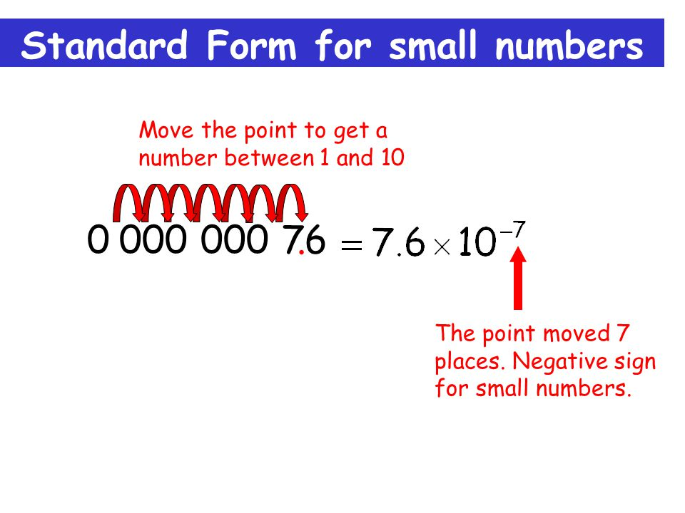 Standard Form for small numbers 0.000 000 76. The point moved 7 places.