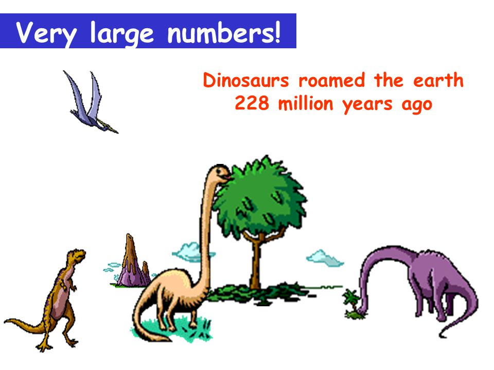 Dinosaurs roamed the earth 228 million years ago Very large numbers!