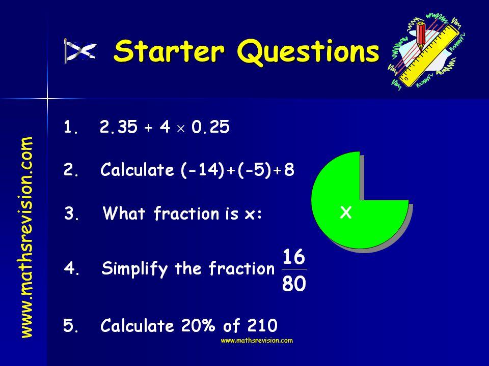 www.mathsrevision.com www.mathsrevision.com Starter Questions www.mathsrevision.com X