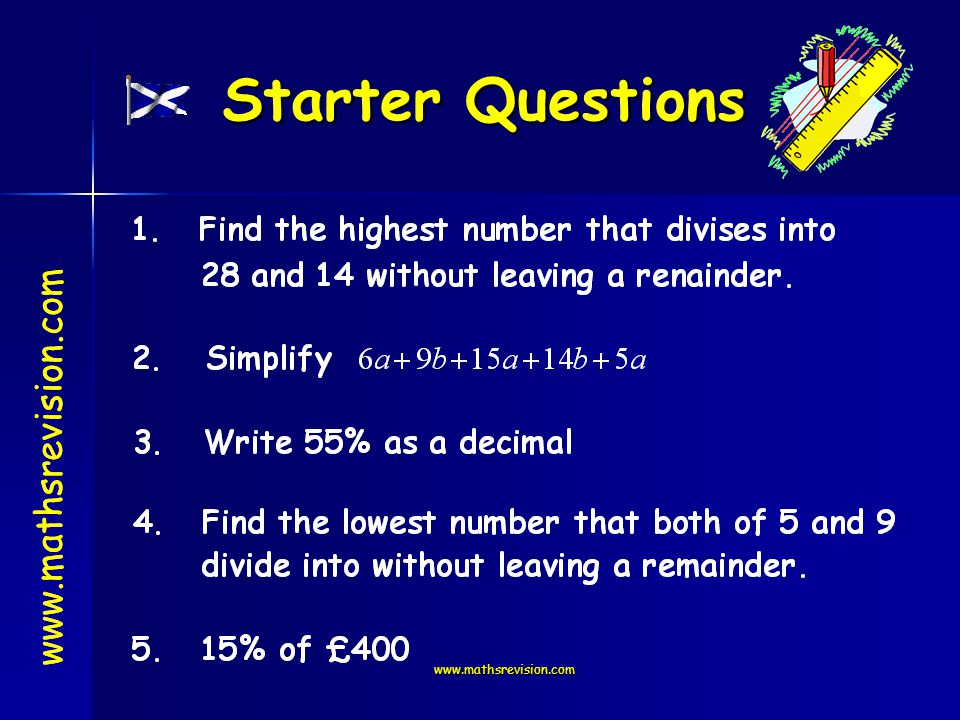 www.mathsrevision.com Starter Questions www.mathsrevision.com