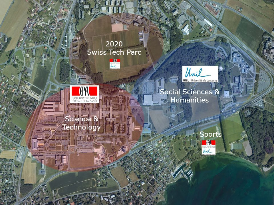 A coherent layout 27'000 persons, including 20'000 students Science & Technology Social Sciences & Humanities Sports 2020 Swiss Tech Parc