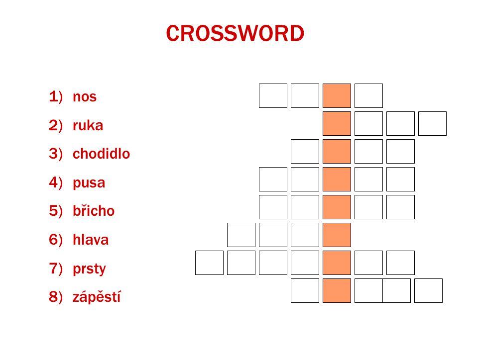CROSSWORD 1)nos 2)ruka 3)chodidlo 4)pusa 5)břicho 6)hlava 7)prsty 8)zápěstí