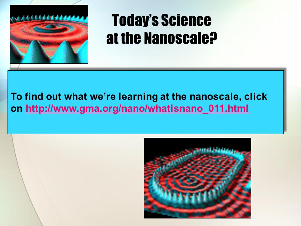 Today's Science at the Nanoscale.