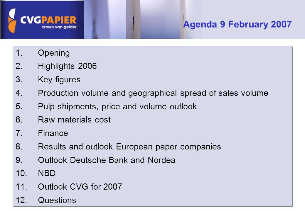 1.Opening 2.Highlights 2006 3.Key figures 4.Production volume and geographical spread of sales volume 5.Pulp shipments, price and volume outlook 6.Raw