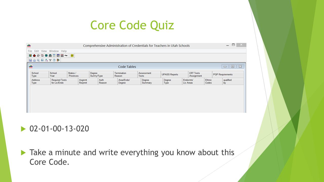 Core Code Quiz  02-01-00-13-020  Take a minute and write everything you know about this Core Code.