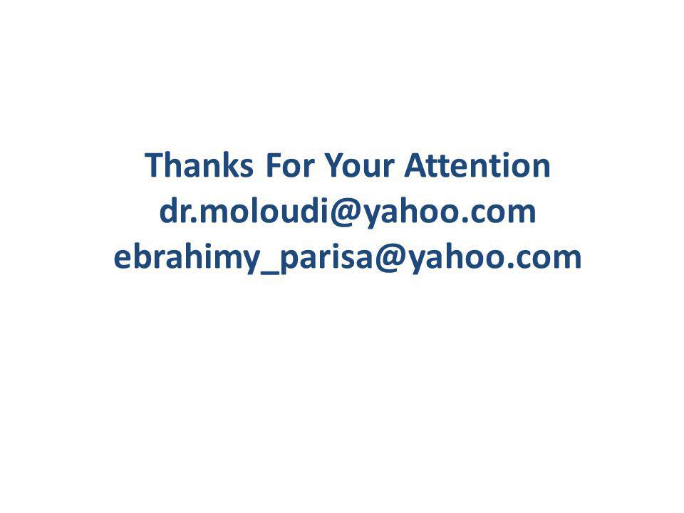 Thanks For Your Attention dr.moloudi@yahoo.com ebrahimy_parisa@yahoo.com