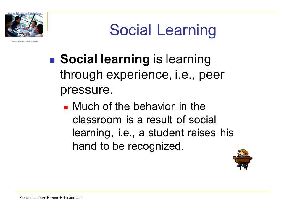 Parts taken from Human Behavior 2ed Social Learning Social learning is learning through experience, i.e., peer pressure.
