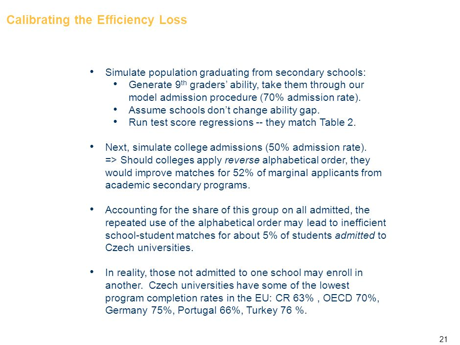 21 Calibrating the Efficiency Loss Simulate population graduating from secondary schools: Generate 9 th graders' ability, take them through our model