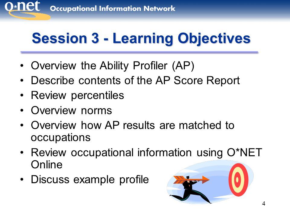 4 Session 3 - Learning Objectives Overview the Ability Profiler (AP) Describe contents of the AP Score Report Review percentiles Overview norms Overvi