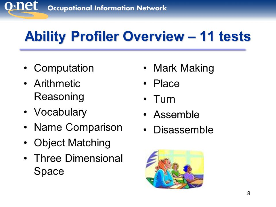 8 Ability Profiler Overview – 11 tests Computation Arithmetic Reasoning Vocabulary Name Comparison Object Matching Three Dimensional Space Mark Making