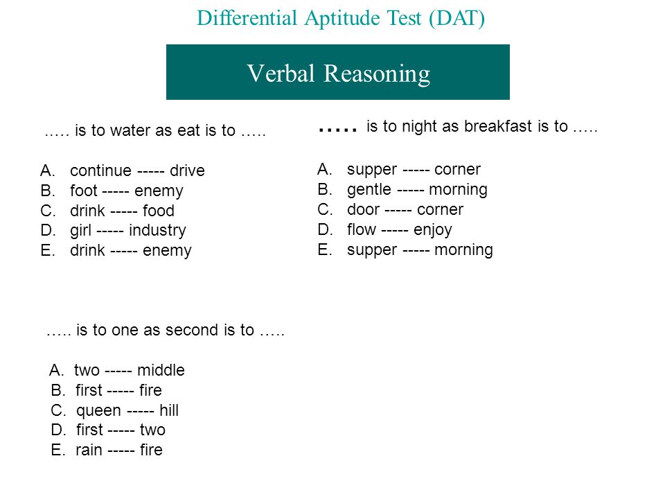 Verbal Reasoning..… is to water as eat is to ….. A.
