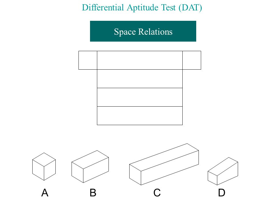 Space Relations A B C D Differential Aptitude Test (DAT)