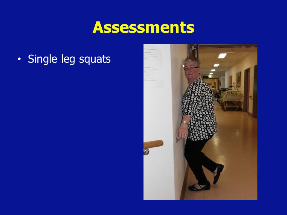 Clinical Implications and Recommendations Different physiotherapists' assessments of older patients' ability to complete squats and negotiate stairs would likely be the same The use of the squat test would deliver benefits to the patient and hospital system Further research into the use of the squat test as an alternative assessment tool is necessary