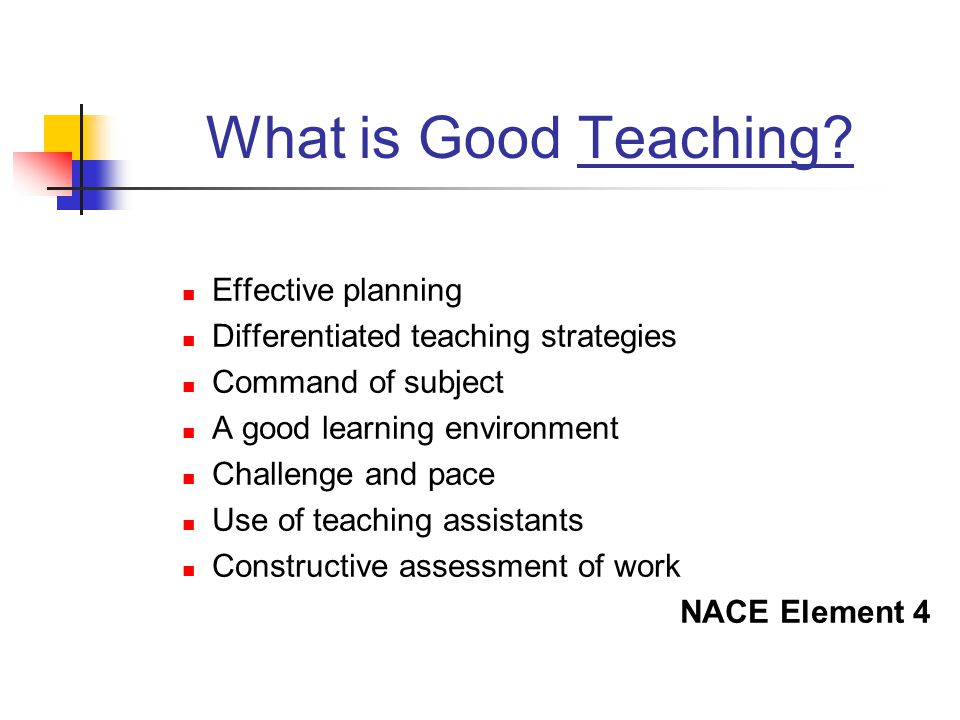 What is Good Teaching? Effective planning Differentiated teaching strategies Command of subject A good learning environment Challenge and pace Use of