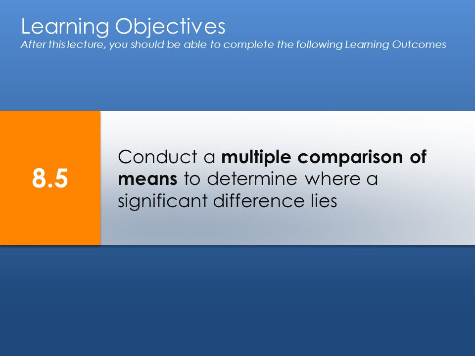 Conduct a multiple comparison of means to determine where a significant difference lies Learning Objectives After this lecture, you should be able to