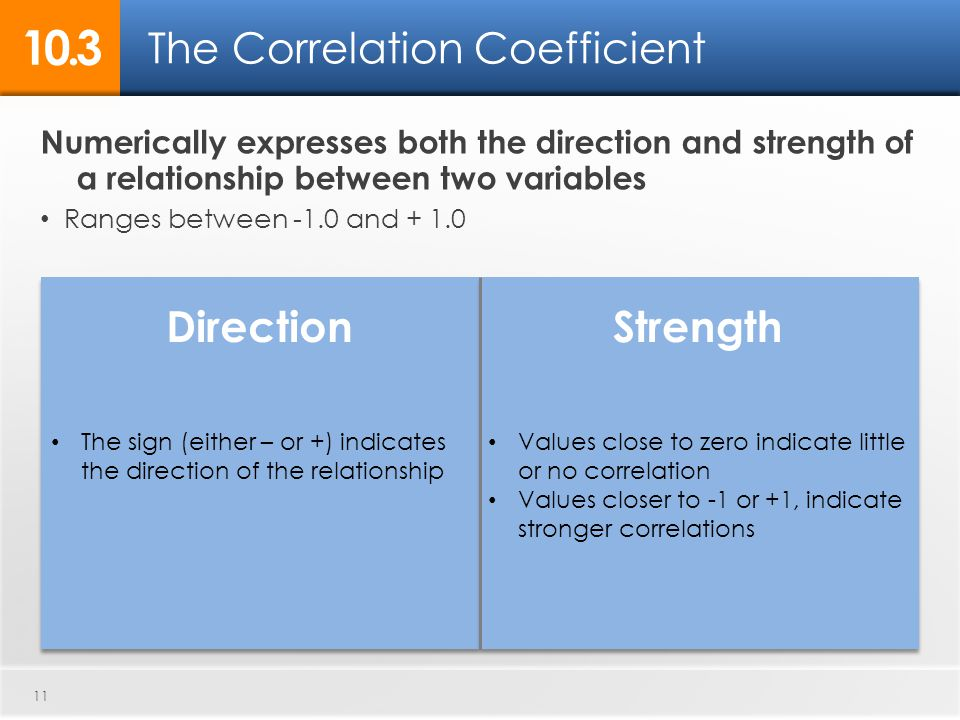 The Correlation Coefficient 10.3 DirectionStrength 11 The sign (either – or +) indicates the direction of the relationship Values close to zero indicate little or no correlation Values closer to -1 or +1, indicate stronger correlations Numerically expresses both the direction and strength of a relationship between two variables Ranges between -1.0 and + 1.0