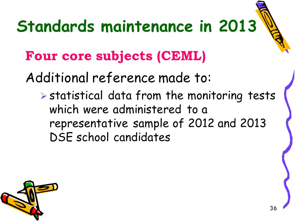36 Standards maintenance in 2013 Four core subjects (CEML) Additional reference made to:  statistical data from the monitoring tests which were admin
