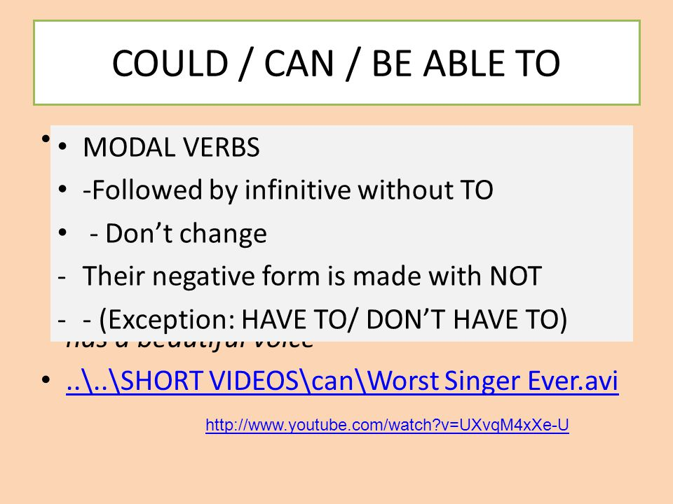 COULD / CAN / BE ABLE TO We have studied that modal verb CAN is used in the present tense to talk about abilities we have nowadays or things we can do