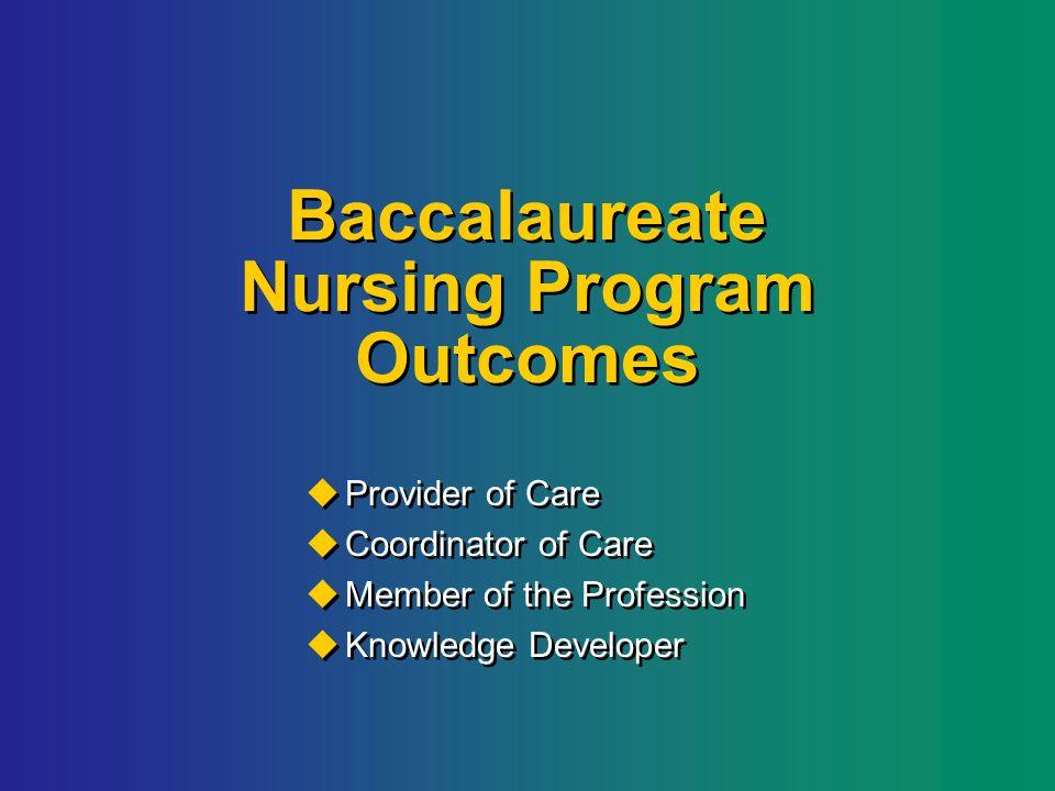 Baccalaureate Nursing Program Outcomes  Provider of Care  Coordinator of Care  Member of the Profession  Knowledge Developer  Provider of Care  Coordinator of Care  Member of the Profession  Knowledge Developer
