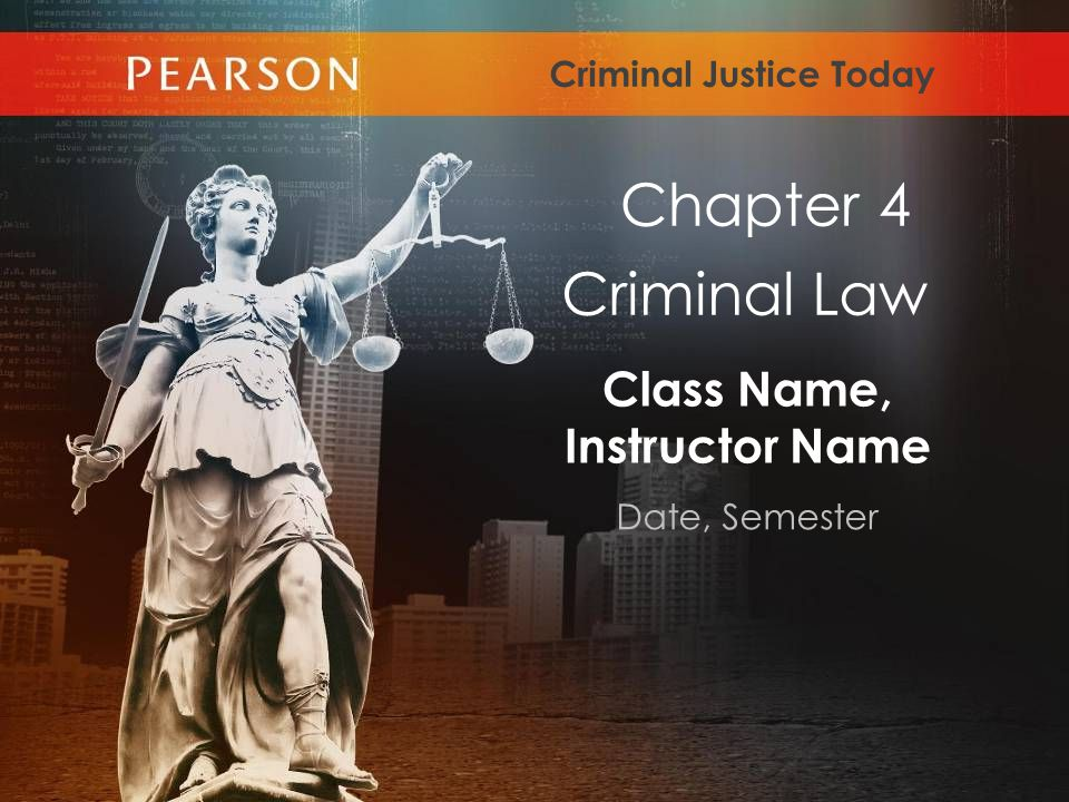 Class Name, Instructor Name Date, Semester Criminal Justice Today Criminal Law Chapter 4