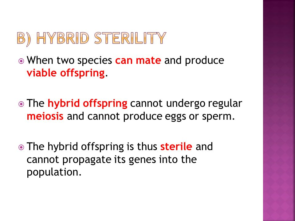  When two species can mate and produce viable offspring.  The hybrid offspring cannot undergo regular meiosis and cannot produce eggs or sperm.  Th