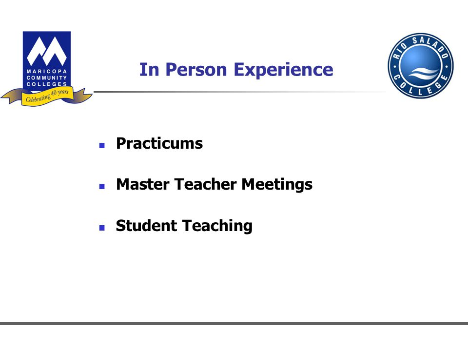 In Person Experience Practicums Master Teacher Meetings Student Teaching