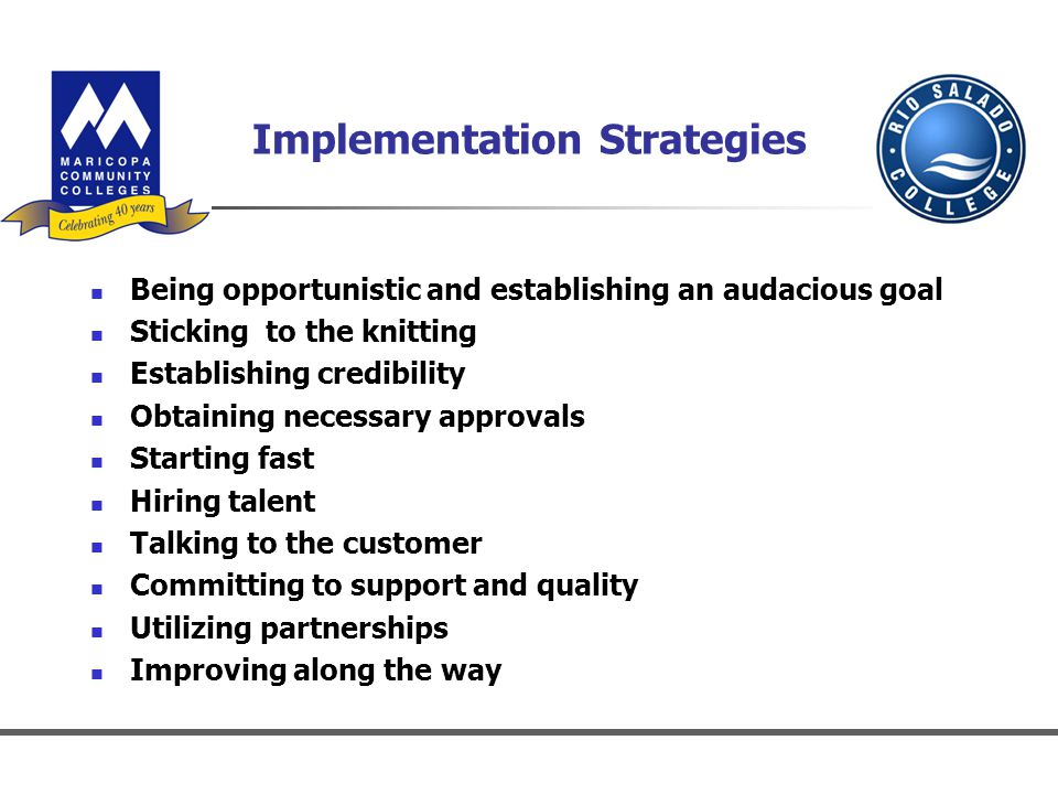 Implementation Strategies Being opportunistic and establishing an audacious goal Sticking to the knitting Establishing credibility Obtaining necessary approvals Starting fast Hiring talent Talking to the customer Committing to support and quality Utilizing partnerships Improving along the way