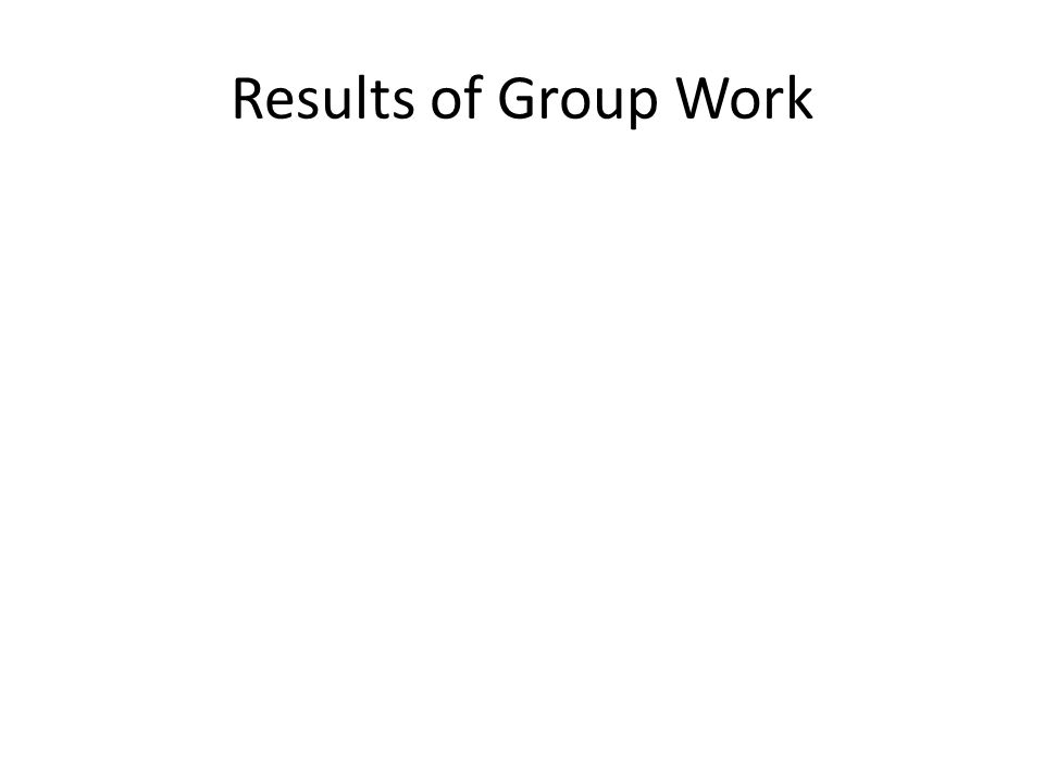 Results of Group Work