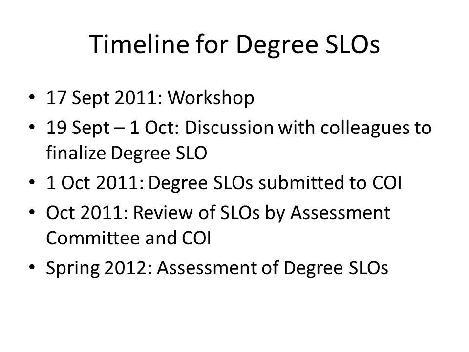 Timeline for Degree SLOs 17 Sept 2011: Workshop 19 Sept – 1 Oct: Discussion with colleagues to finalize Degree SLO 1 Oct 2011: Degree SLOs submitted to COI Oct 2011: Review of SLOs by Assessment Committee and COI Spring 2012: Assessment of Degree SLOs