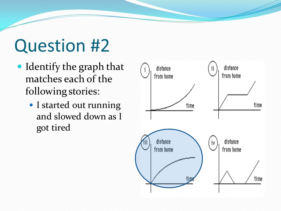 Question #2 Identify the graph that matches each of the following stories: I started out running and slowed down as I got tired