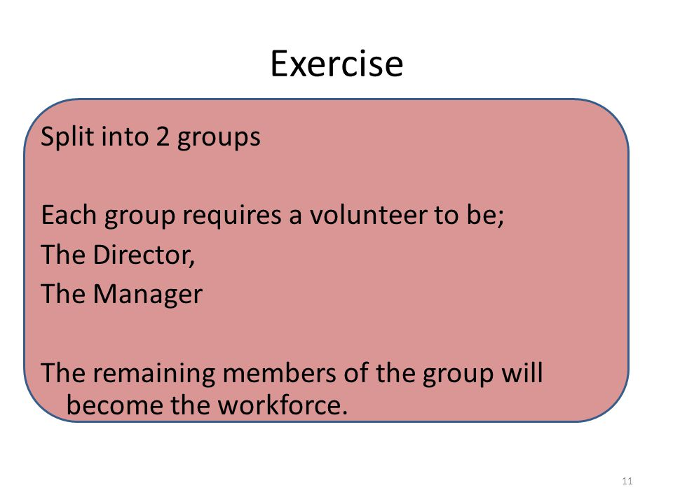 Exercise Split into 2 groups Each group requires a volunteer to be; The Director, The Manager The remaining members of the group will become the workforce.