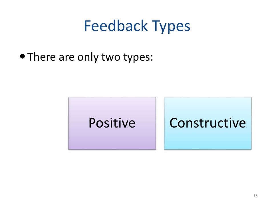 Feedback Types There are only two types: PositiveConstructive 15