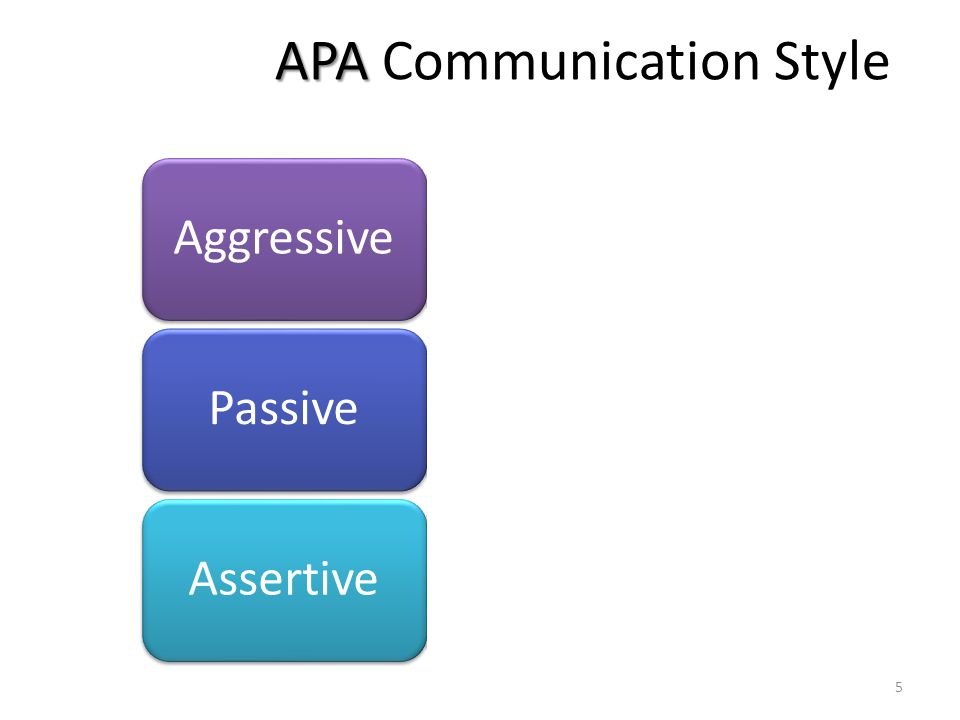 APA APA Communication Style People who want to achieve their goals without any regards for the needs of other people.