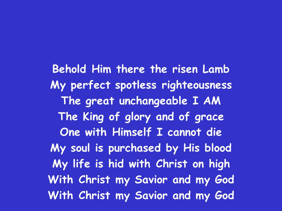 Behold Him there the risen Lamb My perfect spotless righteousness The great unchangeable I AM The King of glory and of grace One with Himself I cannot