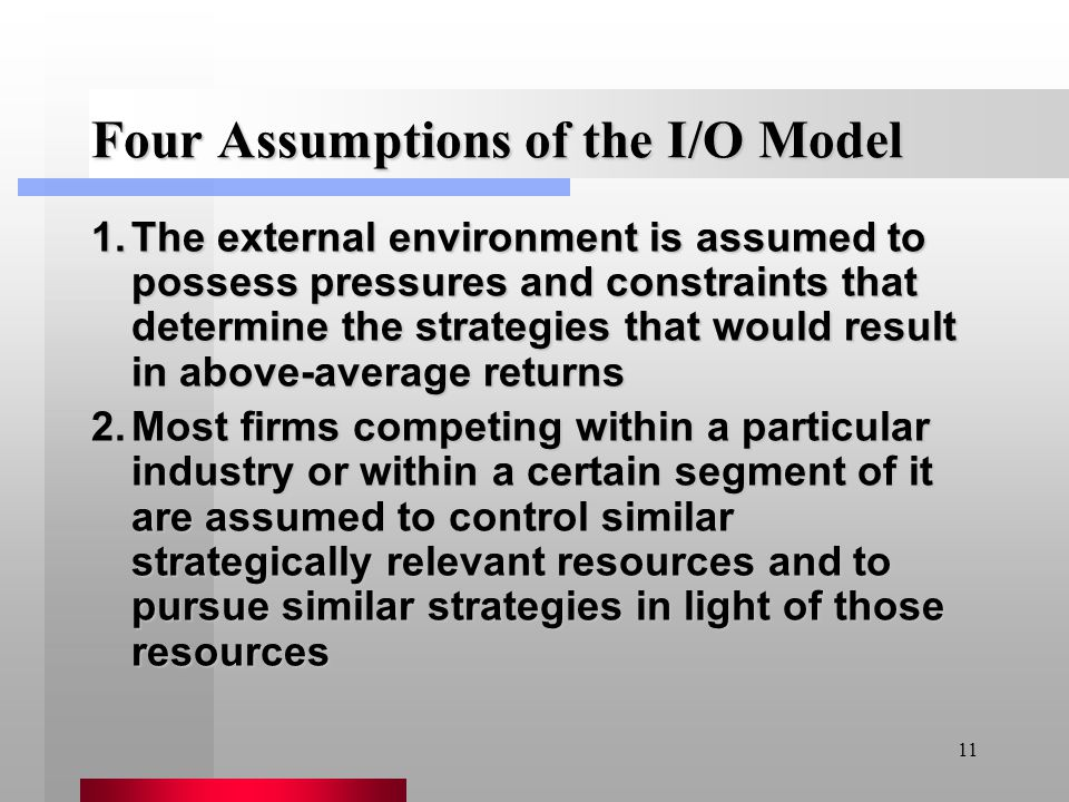 11 Four Assumptions of the I/O Model 1.The external environment is assumed to possess pressures and constraints that determine the strategies that wou