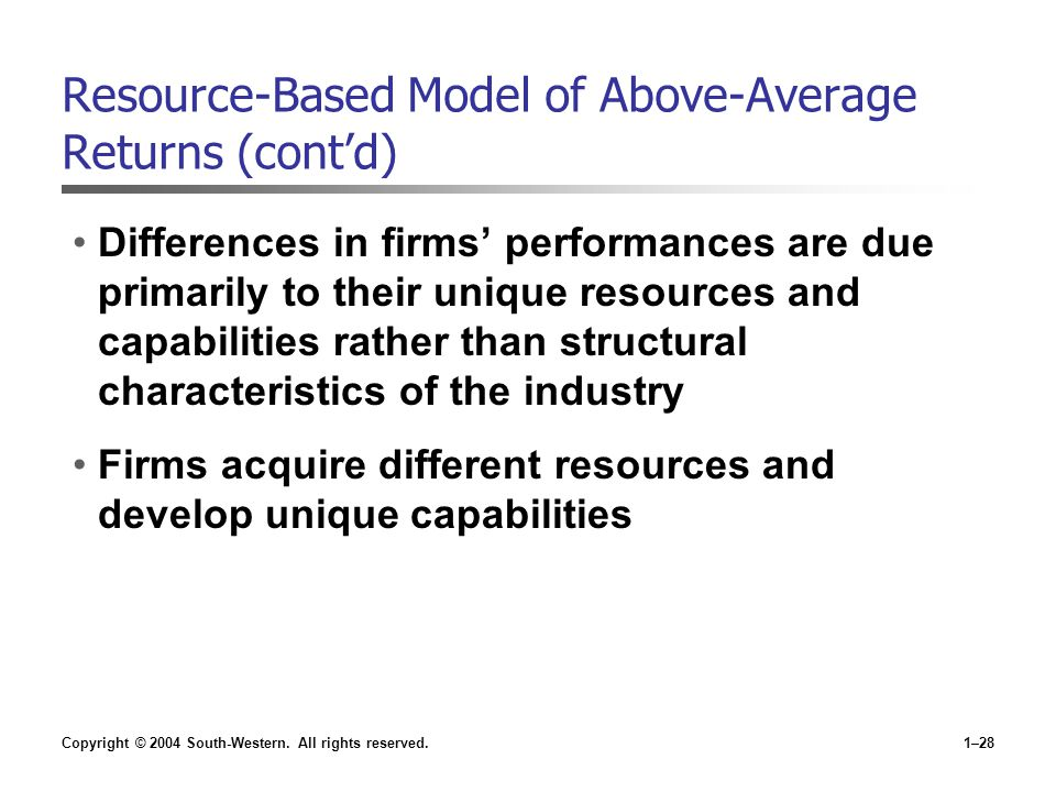 Copyright © 2004 South-Western. All rights reserved.1–28 Resource-Based Model of Above-Average Returns (cont'd) Differences in firms' performances are