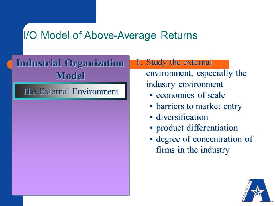 Industrial Organization Model I/O Model of Above-Average Returns 1.Study the external environment, especially the industry environment economies of scaleeconomies of scale barriers to market entrybarriers to market entry diversificationdiversification product differentiationproduct differentiation degree of concentration of firms in the industrydegree of concentration of firms in the industry The External Environment