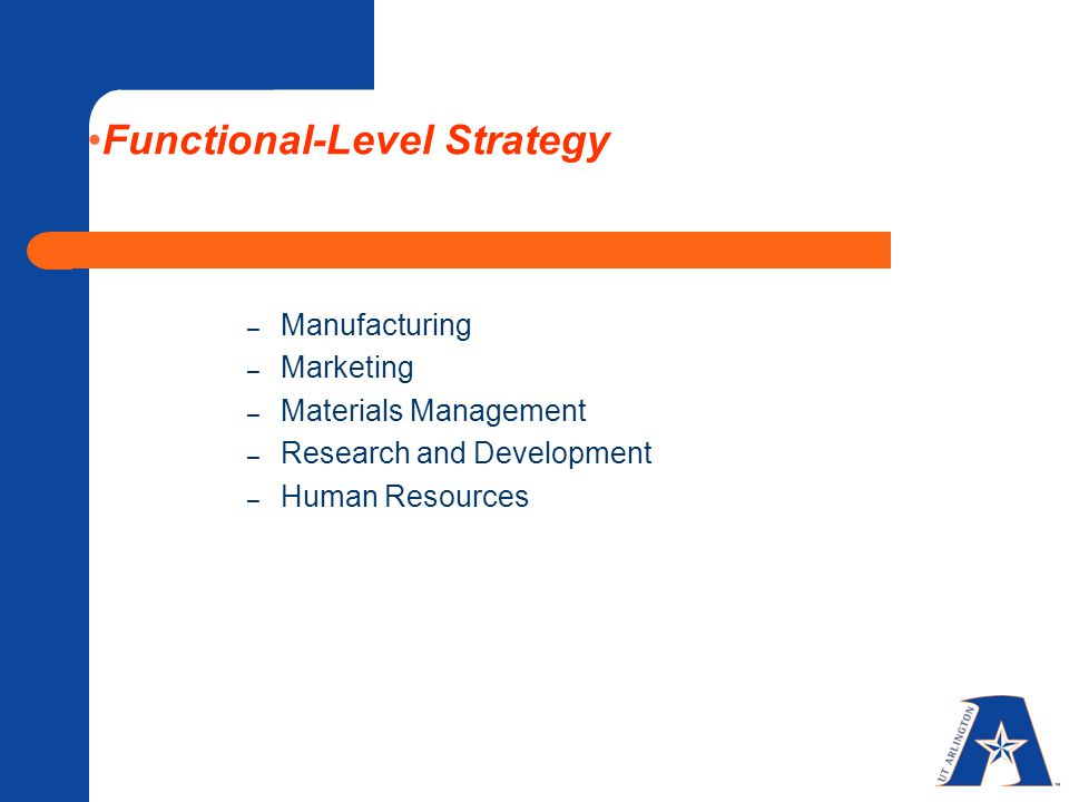 Functional-Level Strategy – Manufacturing – Marketing – Materials Management – Research and Development – Human Resources