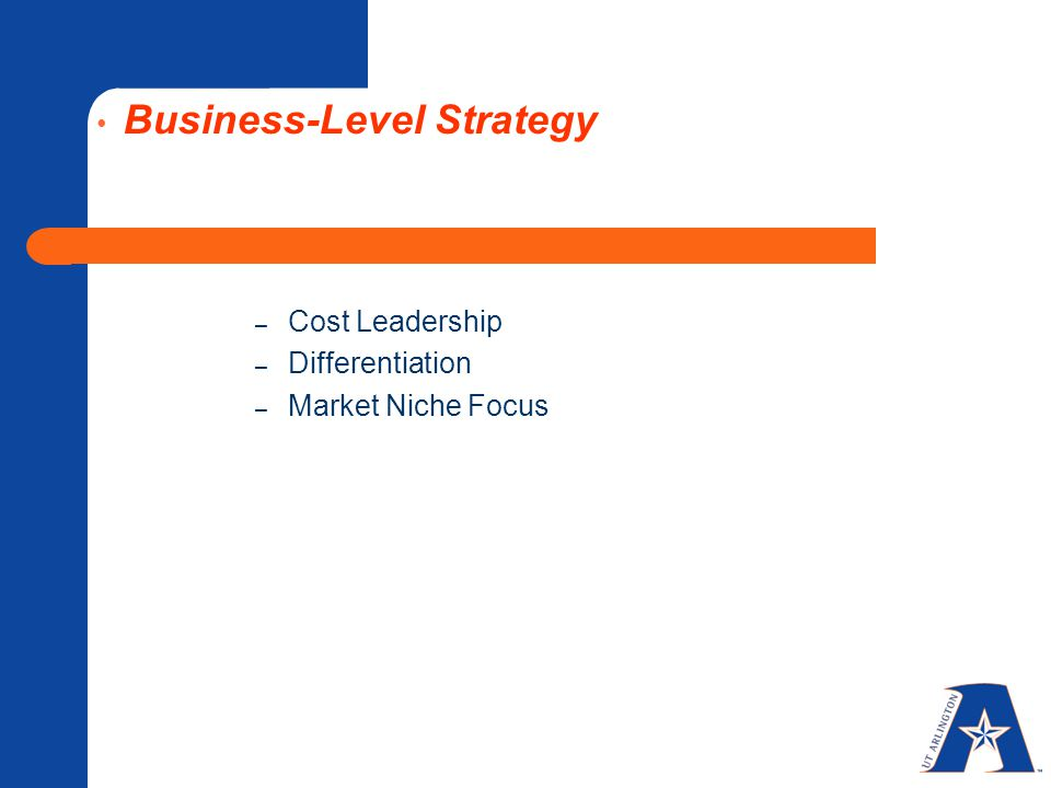 Business-Level Strategy – Cost Leadership – Differentiation – Market Niche Focus
