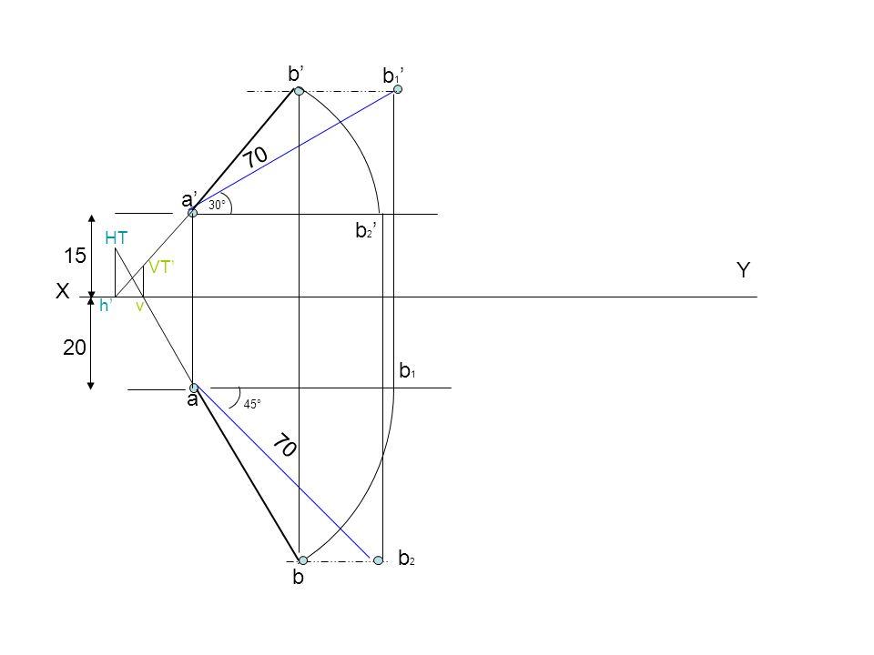 X Y 15 a' 20 70 b1'b1' a b2b2 30° 45° b1b1 b b' b2'b2' h' HT v VT'