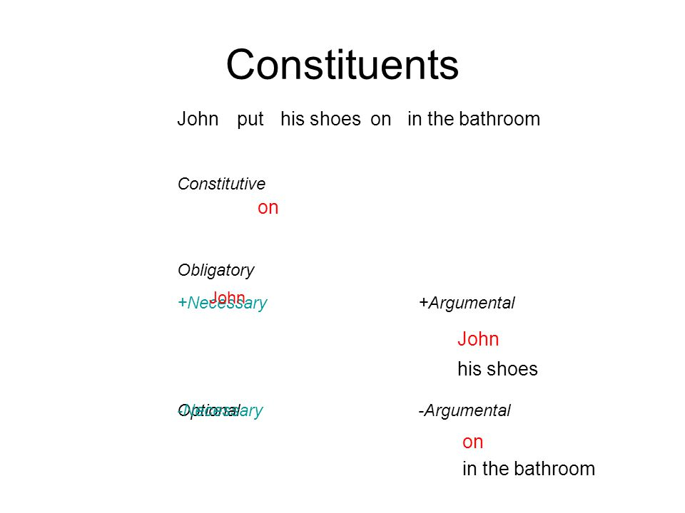 Optional -Necessary Obligatory Johnhis shoesin the bathroomputon Constitutive +Necessary John Constituents +Argumental -Argumental John his shoes on in the bathroom