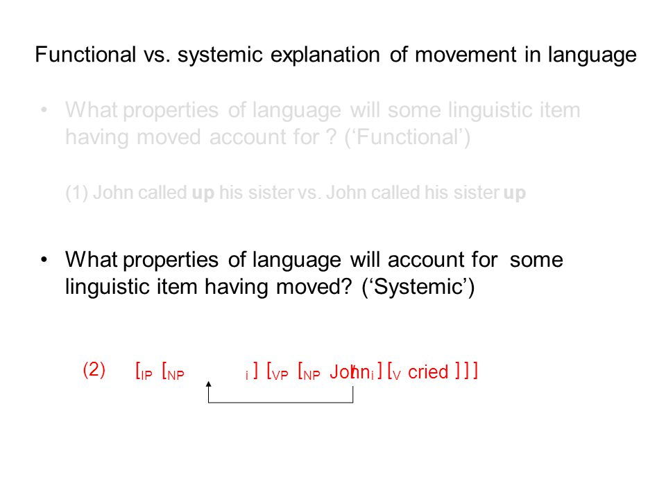 t [ NPi ][V[V ] Functional vs. systemic explanation of movement in language What properties of language will some linguistic item having moved account