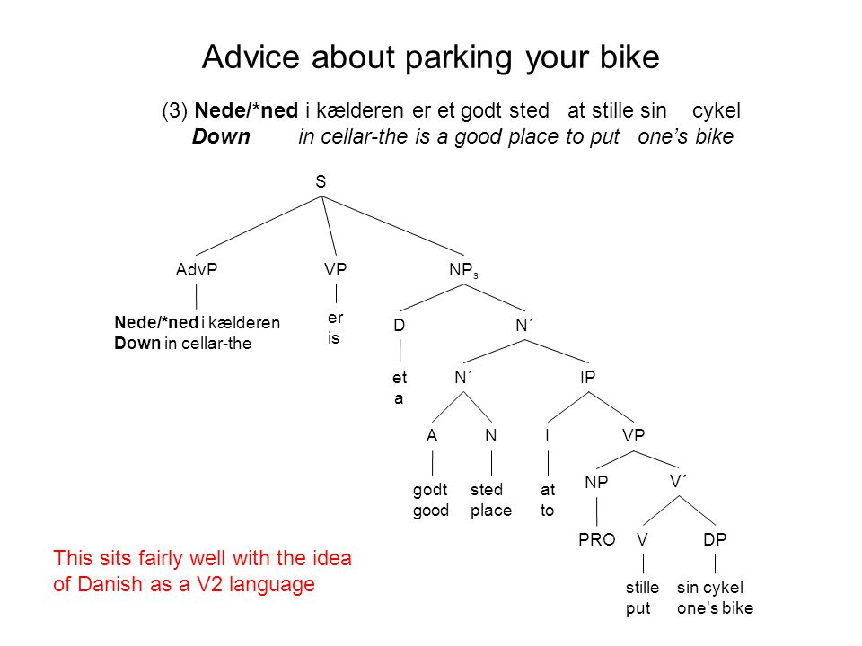 NP s DN´ IP sted place at to stille put sin cykel one's bike N´ VP V´ DPV I NP AN et a godt good PRO Advice about parking your bike (3) Nede/*ned i kælderen er et godt sted at stille sin cykel Down in cellar-the is a good place to put one's bike er is VPAdvP Nede/*ned i kælderen Down in cellar-the S This sits fairly well with the idea of Danish as a V2 language