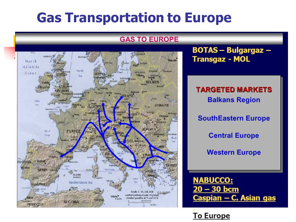 Gas Transportation to Europe NABUCCO: 20 – 30 bcm Caspian – C.