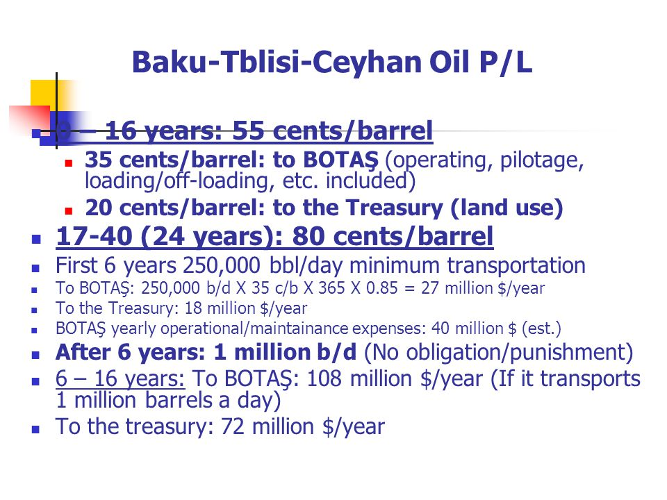 Baku-Tblisi-Ceyhan Oil P/L 0 – 16 years: 55 cents/barrel 35 cents/barrel: to BOTAŞ (operating, pilotage, loading/off-loading, etc.