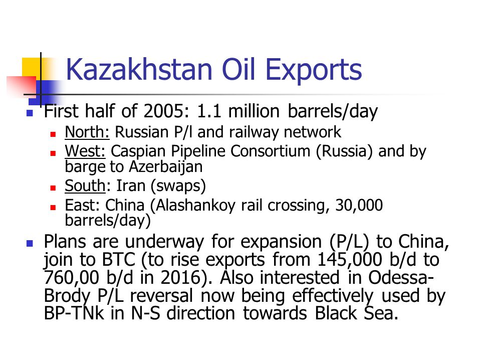 Kazakhstan Oil Exports First half of 2005: 1.1 million barrels/day North: Russian P/l and railway network West: Caspian Pipeline Consortium (Russia) and by barge to Azerbaijan South: Iran (swaps) East: China (Alashankoy rail crossing, 30,000 barrels/day) Plans are underway for expansion (P/L) to China, join to BTC (to rise exports from 145,000 b/d to 760,00 b/d in 2016).