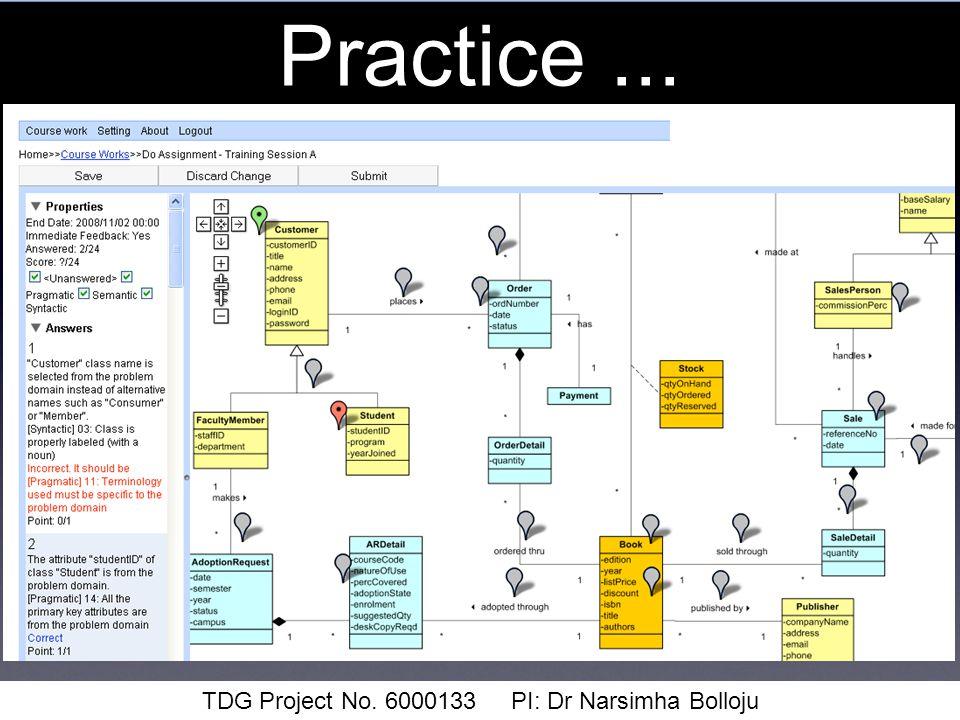 Practice... TDG Project No. 6000133 PI: Dr Narsimha Bolloju