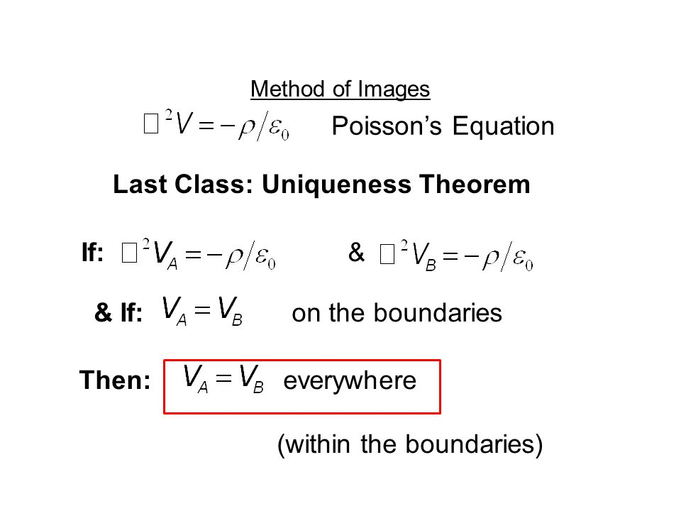 Method of Images Last Class: Uniqueness Theorem If: & & If: on the boundaries Poisson's Equation Then:everywhere (within the boundaries)