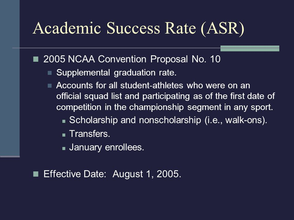 Calculating ASR OutcomeScore Graduated within six years of entering.1/1 Did not graduate within six years of entering but continued at institution.